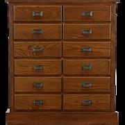Oak 1910 Antique 12 Drawer File Cabinet, Signed Union Cleveland