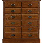 Oak 1910 Antique 12 Drawer File Cabinet, Signed Union Cleveland