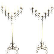 Pair Adjustable 7 Candle Vintage Wrought Iron Floor Candelabra