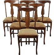 Set of 6 Antique 1900 Quarter Sawn Oak Dining Chairs, New Upholstery