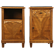 Art Deco 1925 Pair French Nightstands, Marble Tops