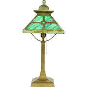 Lamp with Stained Glass Shade, 1910 Antique