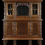 French Oak Antique 1900 Wine Cabinet, Back Bar, Sideboard, Carved Grapevines