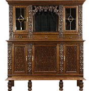 French Oak Antique 1900 Wine Cabinet, Back Bar, Sideboard, Carved Grapevines