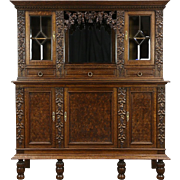 French Oak 1900 Antique Wine Cabinet , Back Bar, Sideboard, Carved Grapevines