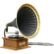 Columbia Graphophone Record Player Oak Tabletop Phonograph & Horn, Pat. 1897