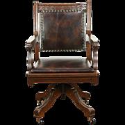 Victorian Eastlake 1890 Antique Walnut Swivel Desk Chair, New Leather