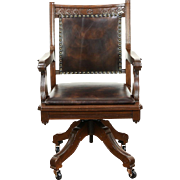 Victorian Eastlake 1890 Antique Walnut Swivel Desk Chair, New Leather