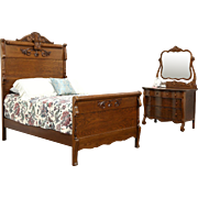 Victorian Carved Oak Antique 1900 Bedroom Set, Full Size Bed, Chest & Mirror