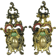 French Bronze Pair of Antique 1870's Fireplace Hearth Chenets or Fire Dogs