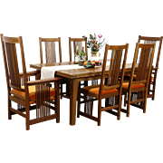 Stickley Signed Cherry Craftsman Design 1995 Dining Set, Table, Leaves, 6 Chairs