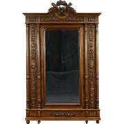 French Louis XVI Antique 1890 Carved Oak & Chestnut Armoire, Wardrobe or Closet