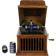 Edison Oak Antique Amberola 30 Phonograph, Tabletop Cylinder Record Player, 1918