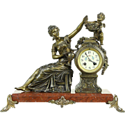 Grape Vine French Antique 1900 Mantel Clock, Angel Sculpture & Marble Base
