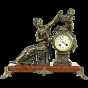Grape Vine French Antique 1900 Mantel Clock, Angel Sculpture & Marble Base