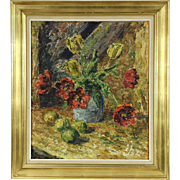 Flowers & Fruit Still Life Vintage Original Oil Painting, Signed