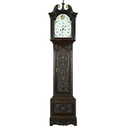 English Georgian 1800 Antique Carved Oak Grandfather Clock, Signed Wilson