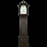 English Georgian 1800 Antique Carved Oak Grandfather Clock, Signed Wilson