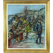 Fish Market at Copenhagen Denmark Harbor Vintage Original Oil Painting, Signed
