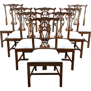 Set of 8 New Georgian Chippendale Carved & Pierced Mahogany Dining Chairs