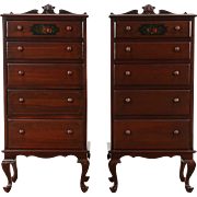 Pair Antique Painted Nightstands, Tall Lingerie, Jewelry or Collector Chests