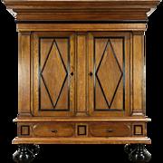 Dutch Kas or 1920 Antique Dowry Cabinet Armoire, Oak & Ebony, Secret Compartment