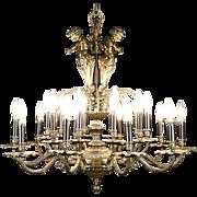 Chandelier, Vintage Dark Bronze, 3 Angels or Cherubs, 20 Candles