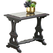 Chairside or Small Painted Vintage Coffee Table, Black Marble Top