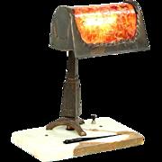 Brady Lite of Detroit 1920 Antique Desk Lamp, Mica Shade, Onyx Base, Magnifier