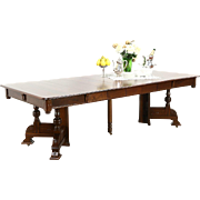 """Victorian Eastlake 1890 Antique Walnut Dining Table, 5 Leaves, Extends 98"""""""