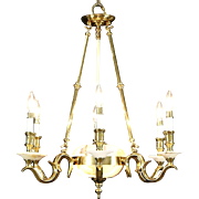 Onyx & Brass 6 Candle Vintage Chandelier Light Fixture