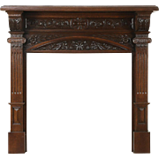 "Oak Architectural Salvage Victorian Antique Carved Fireplace Mantel 11 1/2"" Deep"