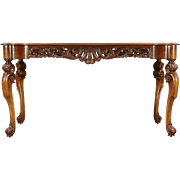 Italian Hall, Sofa or Library Table, Foyer Console, Vintage Carved Walnut Burl