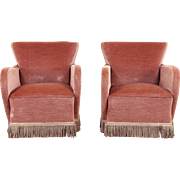 Pair of Art Deco 1940 Vintage Scandinavian Chairs, Mohair Upholstery