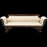 Empire Acanthus & Cornucopia Carved Mahogany 1900 Antique Sofa, Lion Paw Feet