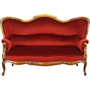Victorian 1890's Antique Loveseat, New Red Velvet Upholstery, Germany