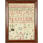 Sampler, Hand Stitched Linen, Signed & Dated 1802, England