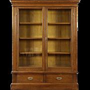 Oak 1900 Antique Bookcase, Glass Doors, Adjustable Shelves