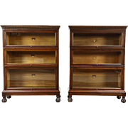 Pair 1915 Antique Stacking Library or Lawyer Walnut Bookcases, Signed Macey