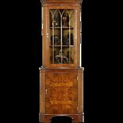 English 1940 Vintage Mahogany & Burl Corner Cabinet, Arched Glass Door