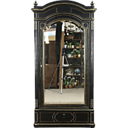 French 1880's Antique Ebonized Armoire, Wardrobe or Closet, Brass Boule Inlay