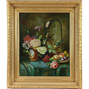 Flowers, Fruit & Bird Still Life Original Oil Painting, Gold Frame, Signed