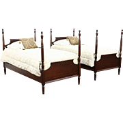 Pair Twin or Single Mahogany Poster Beds, 1930's Vintage, Signed Millwaukee