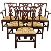 Set of 6 Traditional Georgian Style Vintage Dining Chairs, New Upholstery
