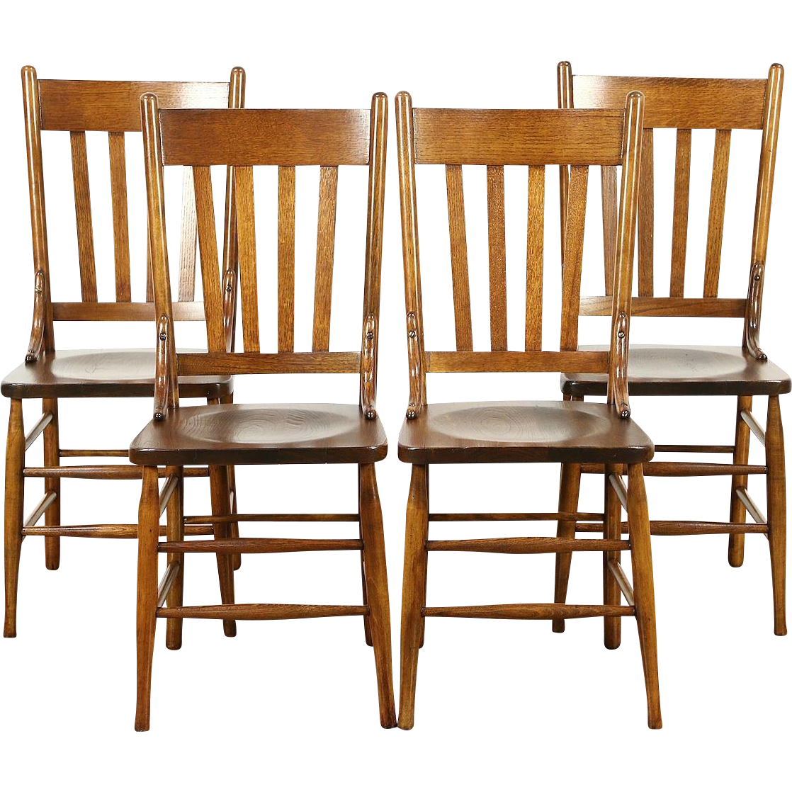 Antique game table chairs - Set Of 4 Antique 1900 Oak Dining Or Game Table Chairs
