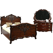 Carved Antique 1900 Mahogany 2 Pc. Bedroom Set, Full Size Bed, Dresser & Mirror