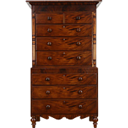 Scottish 1860 Antique Mahogany Highboy or Tall Chest on Chest