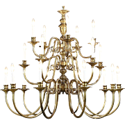 "Georgian Style Chandelier, Vintage 3 Tier Patinated Brass, 20 Candles, 44"" Tall"