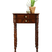 Empire 1825 Antique Acanthus Carved Mahogany End Table or Nightstand