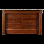 Kitchen Island Counter, 1890 Antique Walnut & Cherry, Granite Top